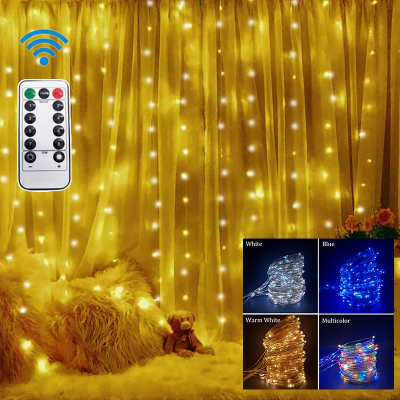 Remote LED String Lights Curtain USB Battery Fairy Lights Garland Led Wedding Party Christmas For Window Home Outdoor Decor