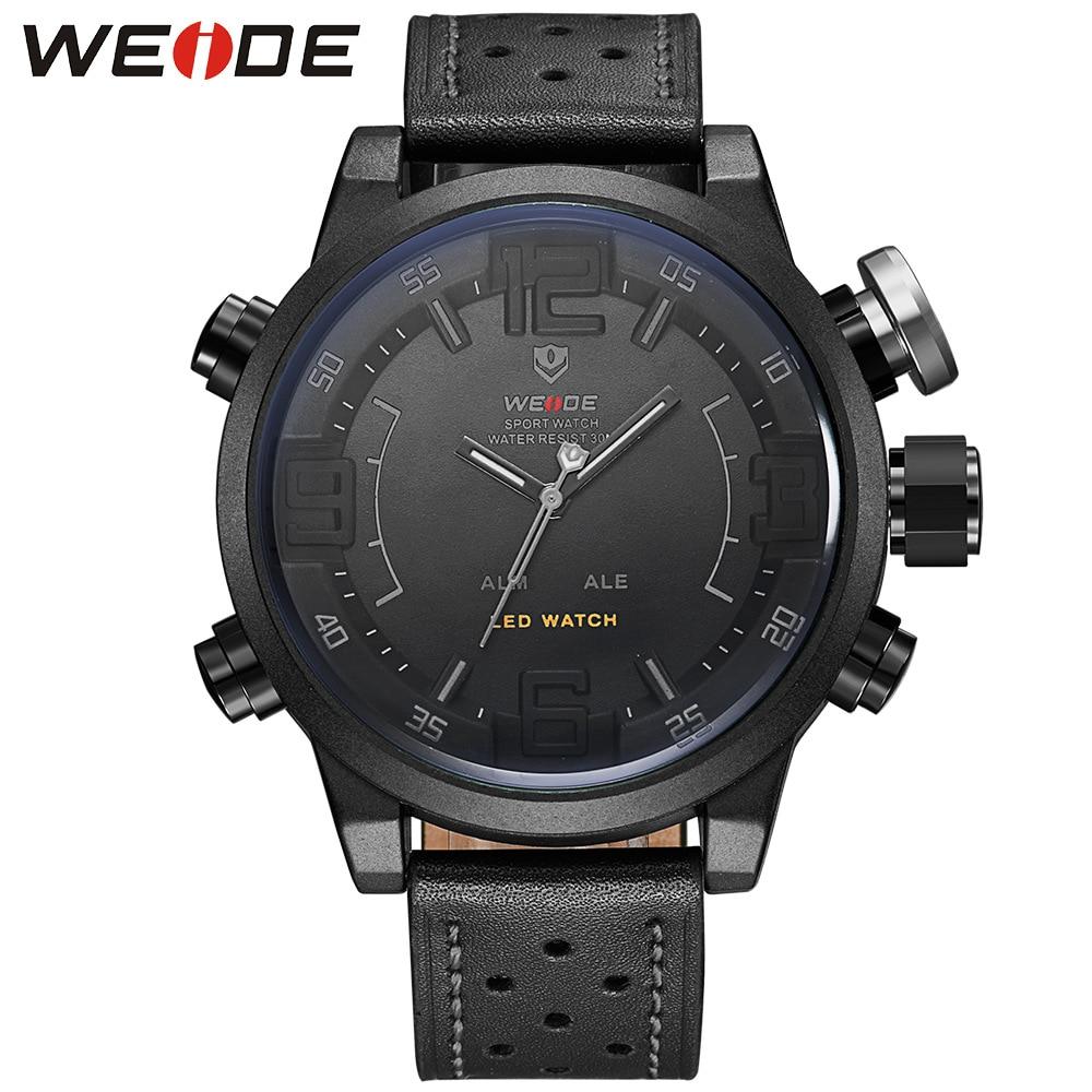 Relógio de Quartzo de Água dos Homens Moda Duplo Movimento Grande Dial Cinto Relógio Weide5210 Led