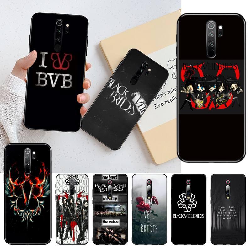 CUTEWANAN, dibujo animado BVB, velo negro para novias, carcasa de teléfono Bling pintada DIY para Redmi Note 8 8A 7 6 6A 5 5A 4 4X 4A Go Pro Plus Prime