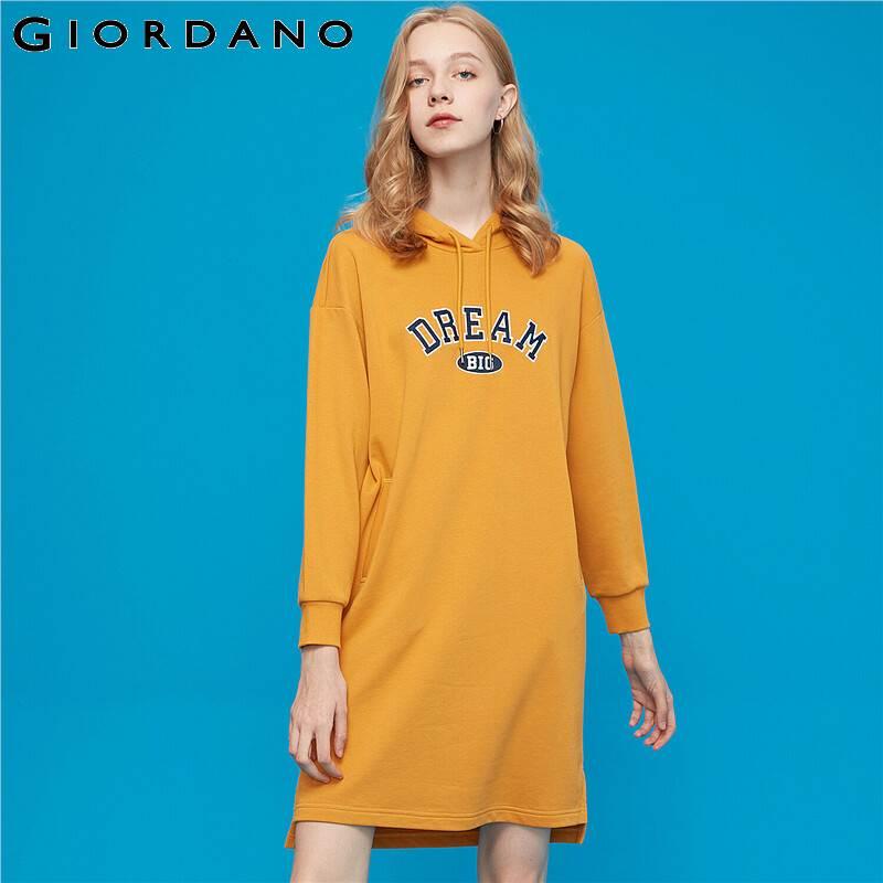Giordano para mujer Vestido impreso carta suelto sudaderas con capucha manga larga Vestido encima de la rodilla de longitud con capucha Vestido 05469891