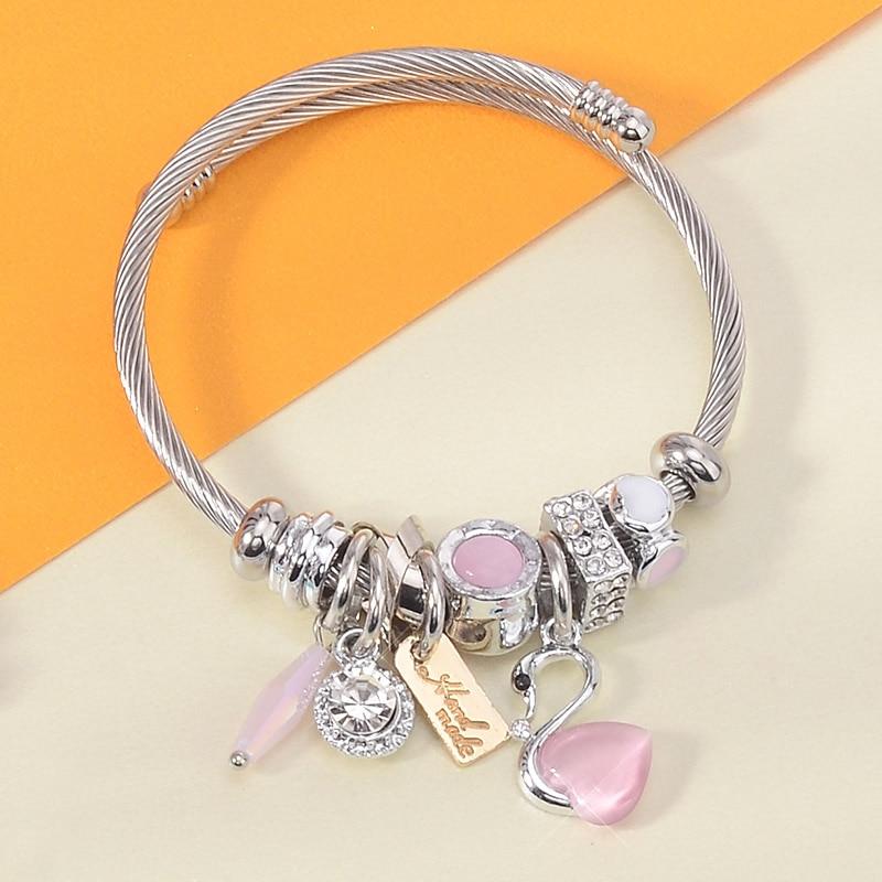 Elegantes pulseras de acero inoxidable con diseño de cisne de ópalo, brazaletes de lujo con abalorios de letras doradas, brazaletes de alambre para mujer, brazalete Vintage, triangulación de envíos