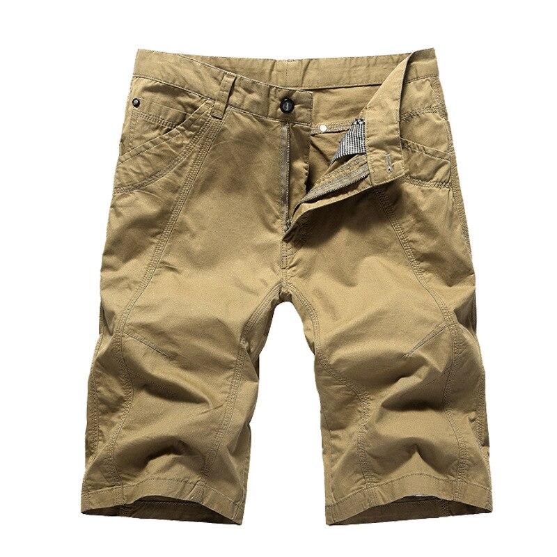 Pantalones cortos de entrenamiento de verano para hombre, pantalones cortos casuales de talla grande 44 de tendencia, pantalones cortos de cargo de motorista, pantalones cortos de Color sólido militar caqui