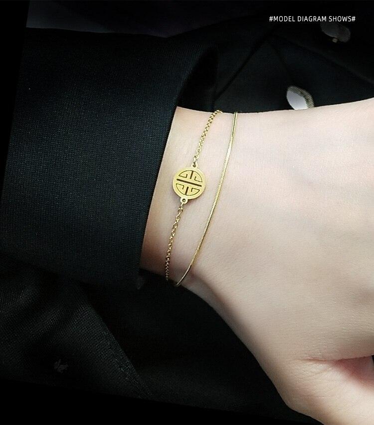 Abalorio de titanio caracter chino de doble cadena, pulseras para mujer, joyería clásica, regalos, vestido, dulce bohemia de moda INS OL Simply