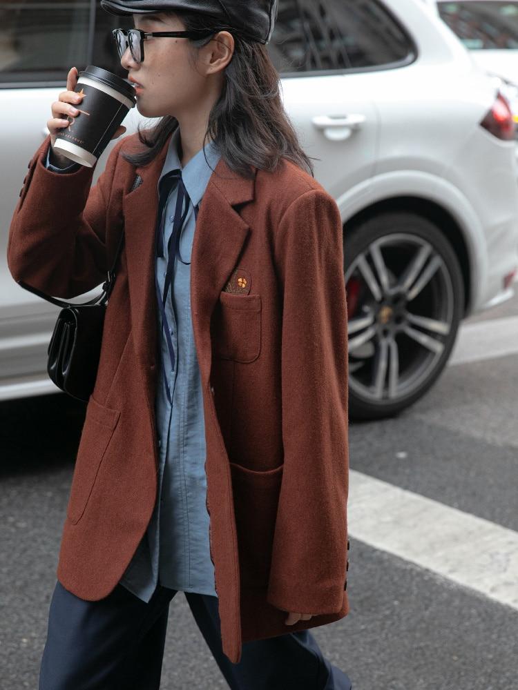 Suit Coat Embroidered Woolen Suit Coat Women's New Korean Loose Casual Suit In Autumn