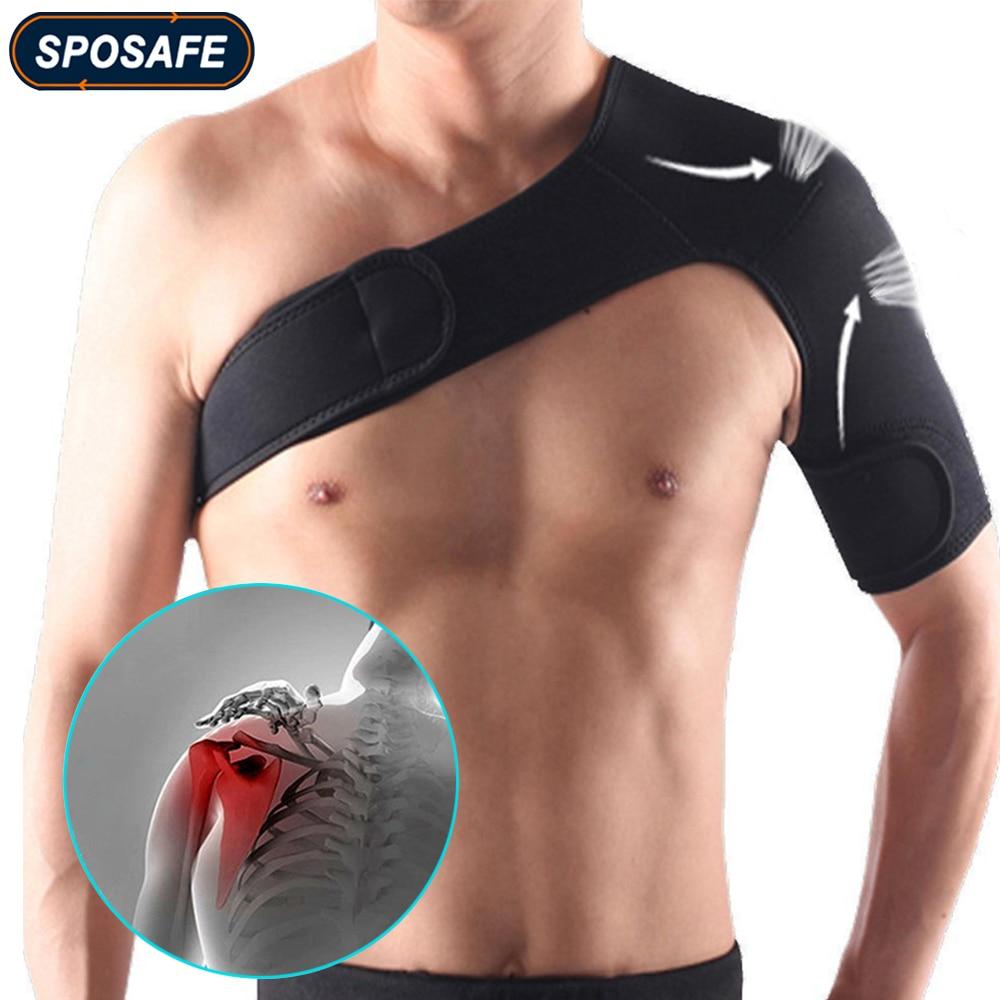SPOSAFE Adjustable Gym Sports Care Single Shoulder Support Back Brace Guard Strap Wrap Belt Band Pad