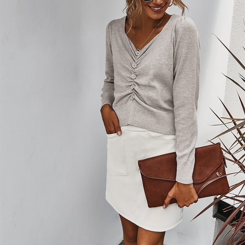 V Neck Thin Office Lady Sweater Fashion Long Sleeve Botton Up Knitted Folds Short Length Women Tops Casual Female Solid Blouses enlarge