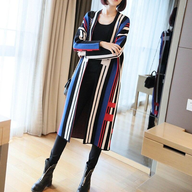 M-XXL suéter de otoño-invierno de talla grande para mujer, abrigo suave y grueso de punto con estampado Midi a rayas para mujer, ropa de otoño