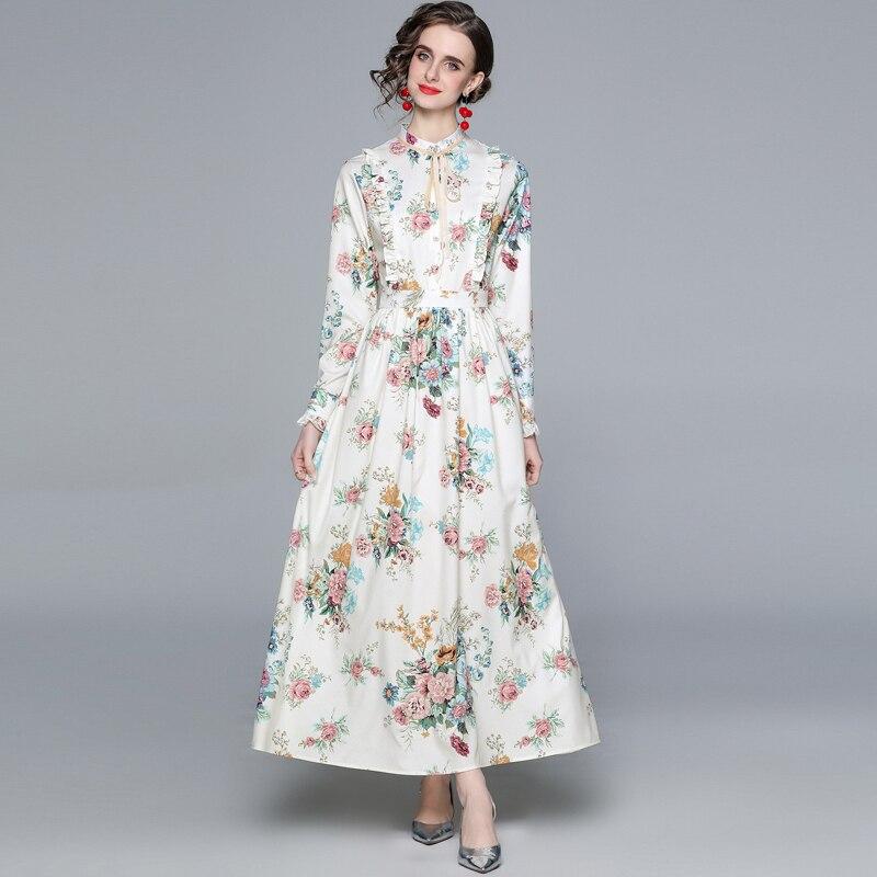 ZUOMAN Women Spring Elegant Floral Dress Shirt High Quality Long Maxi Vintage Party Robe Femme Bohem