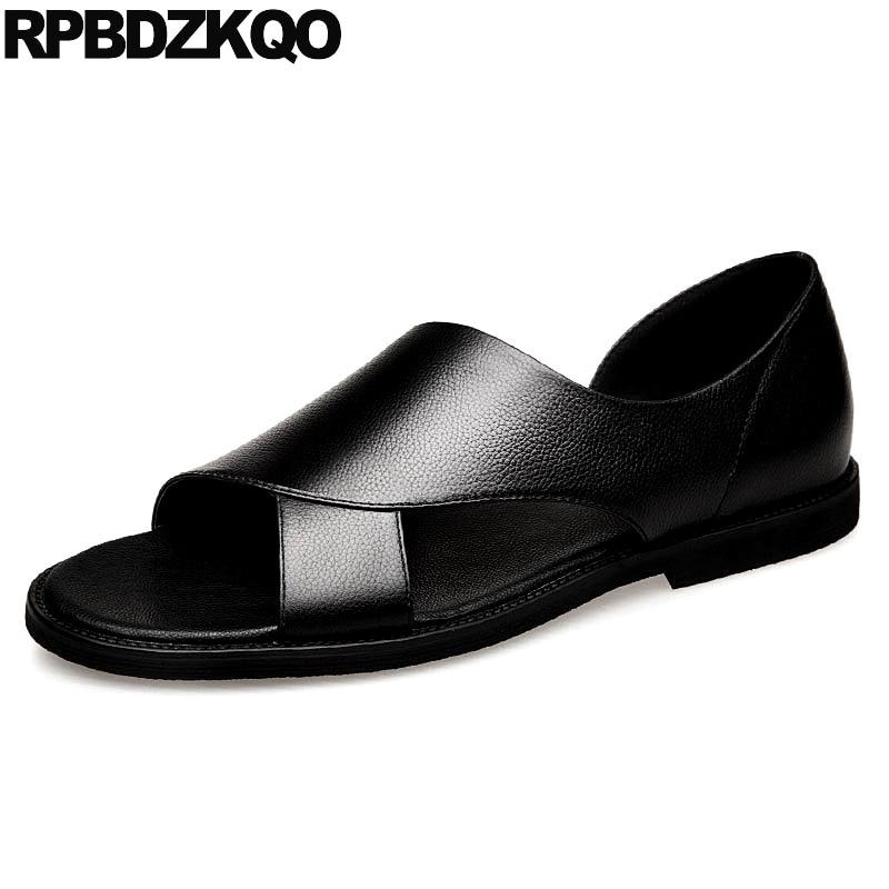 Luxo Verão Preto Respirável Couro Legítimo 2018 Alta Qualidade Sapatos De Grife Homens Runway Escorregar Em Casual Plano Japonês Sandálias Desenhista