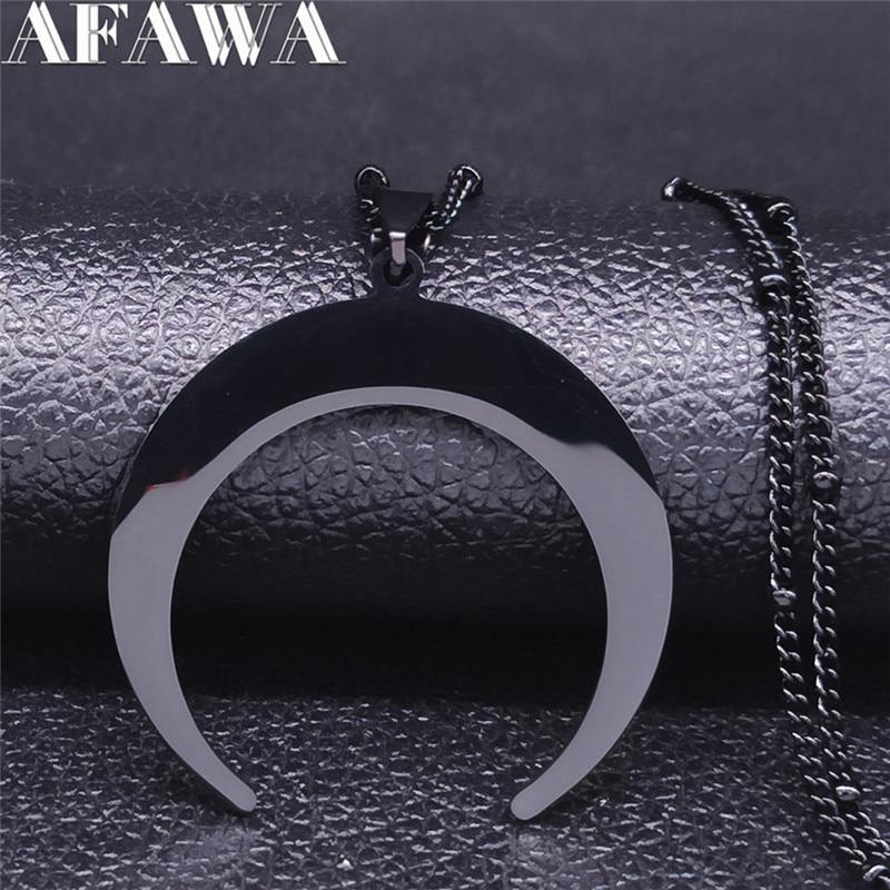 Готическое ожерелье из нержавеющей стали с Луной для женщин, черный цвет, большой воротник без воротника, ювелирное изделие, acero inoxidible mujer N3107S02, 2020
