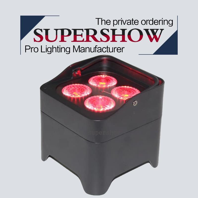 ضوء زفاف 4*18w RGBWA UV 6 في 1 LED بطارية صغيرة مع جهاز تحكم عن بعد