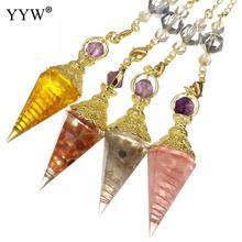 Pêndulo de bronze com resina lucite pingente moda unissex natural reiki cura pêndulo para diy colar feminino jóias fazendo