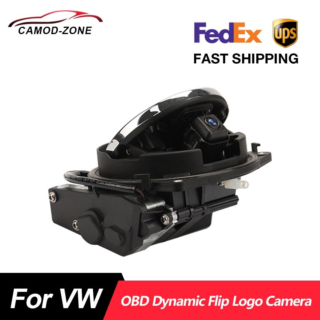 Logo Flip Reverse Camera for VW OBD Dynamic Trajectory Rearview Camera for VW POLO 6R Passat B8 Golf 7 MK7 Bettle Tiguan 2021