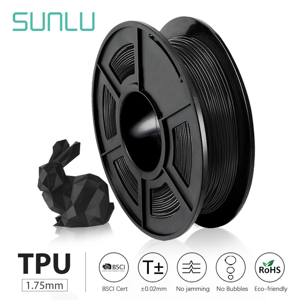 SUNLU impresora 3d Flexible de resina TPU negro sunlu impresora 3d filamento 0,5 KG por rollo bueno para imprimir juguetes y zapatos para niños