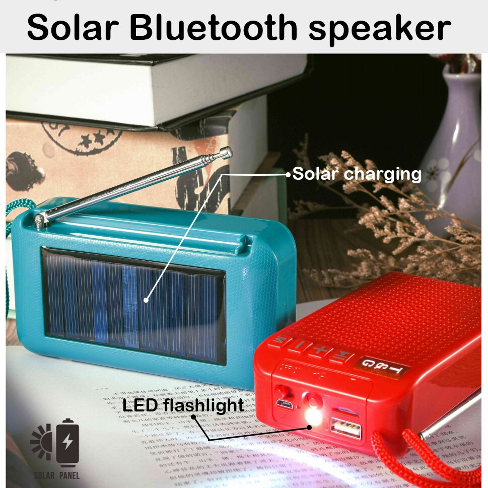 Altavoz Bluetooth con panel Solar, sistema de sonido inalámbrico portátil para exteriores, mini subwoofer de centro de música con radio FM, linterna aux