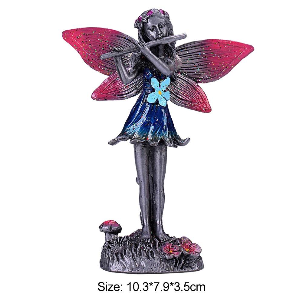 Metal Flower Fairy Painted Girl Elf Sculpture Art Statues Electroplating Alloy Statue Living Room Figurine Garden Ornament