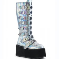 women winter mid calf boots multicolor wedges platform shoes ladies y2k boot with buckle bootie high heels motorcycle punk bota