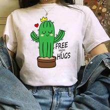 Summer Fashion Shirt Love Is Cike a Cactus T Shirt Women Tops Base O-neckwhite Tees Funny Lnterestin