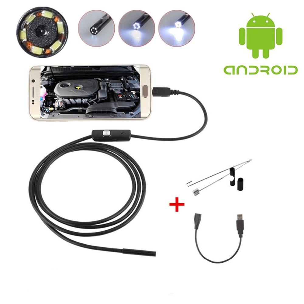 1M 7mm lente USB endoscopio Cámara impermeable Flexible cable serpiente inspección boroscopio para teléfonos Android OTG Compatible