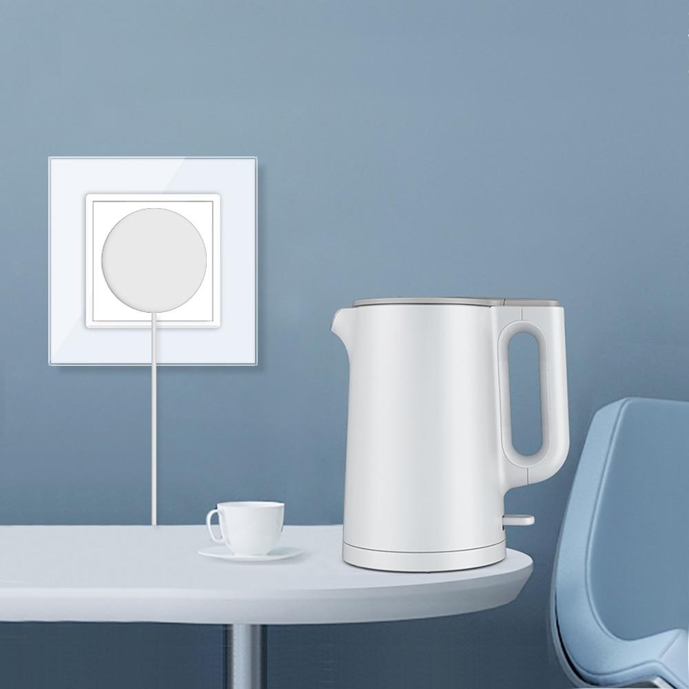 Livolo EU Standard Power Socket, White Crystal Glass Panel, AC 110~250V 16A Wall Power Socket, VL-C7C1EU-11,no logo