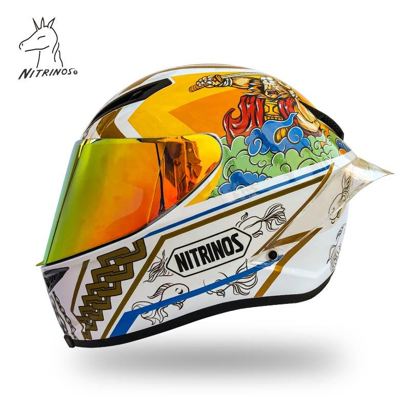 خوذة دراجة بخارية تغطي الوجه بالكامل خوذة رائعة بيضاء مزودة بذيل كبير خوذة ركوب الدراجات النارية خوذة سباقات الدراجات النارية
