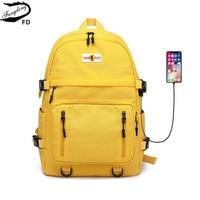 Женский водонепроницаемый рюкзак с usb-портом Fengdong, черный или желтый Водонепроницаемый Большой Школьный или дорожный рюкзак для мальчиков ...