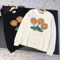 21 luxury design sunflower letter printing fashion womens long sleeve top temperament versatile loose round neck casual sweater