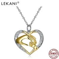 lekani romantic 925 sterling silver pendant necklaces women clear cubic zircon heart shaped handshake necklace fine jewelry