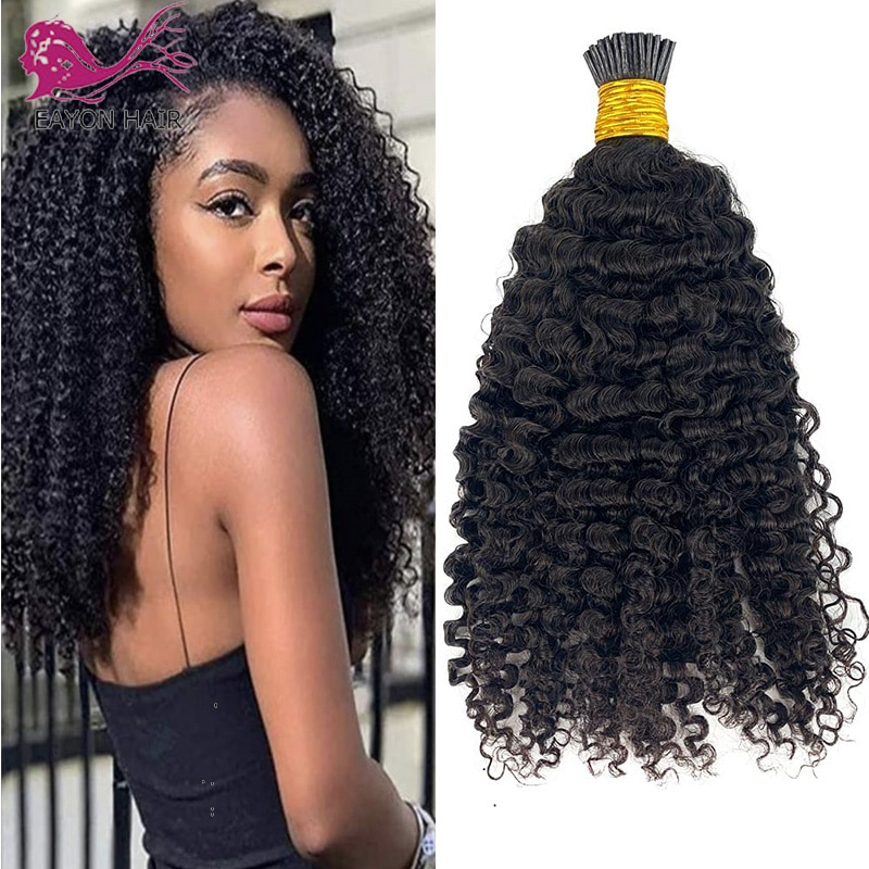 Afro Kinky Curly I Tip Hair Extensions Pre Bonded Hair Mongolian Remy 4B 4C I Tip Microlinks Fusion Hair Natural Color1#2#4#100g