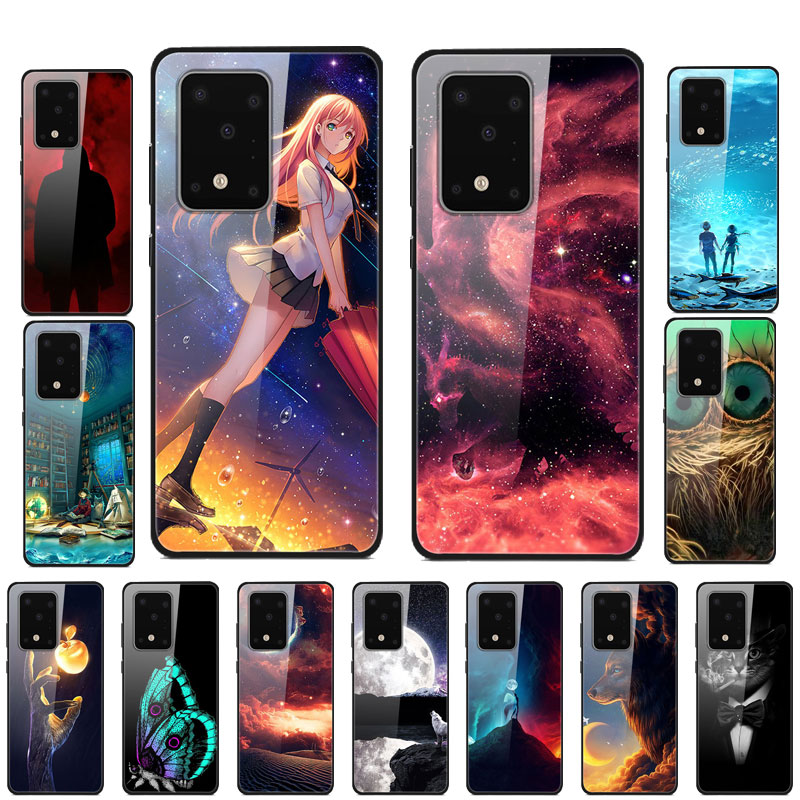 Funda de teléfono para Samsung S20 Plus, carcasa trasera rígida de cristal templado para Samsung Galaxy S20, funda Ultra, carcasa para parachoques S 20 S20Plus