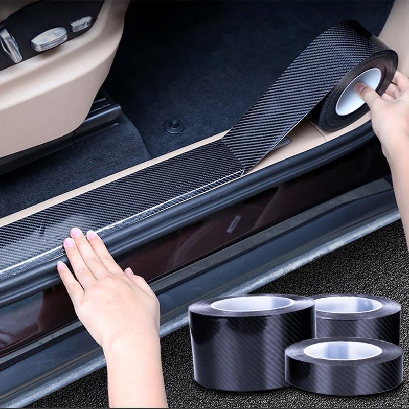 3M Puerta de coche Anti-colisión Protector adhesivo fibra de carbono tiras de película Anti-rasguño borde Protector cintas de protección sello Protector trasero