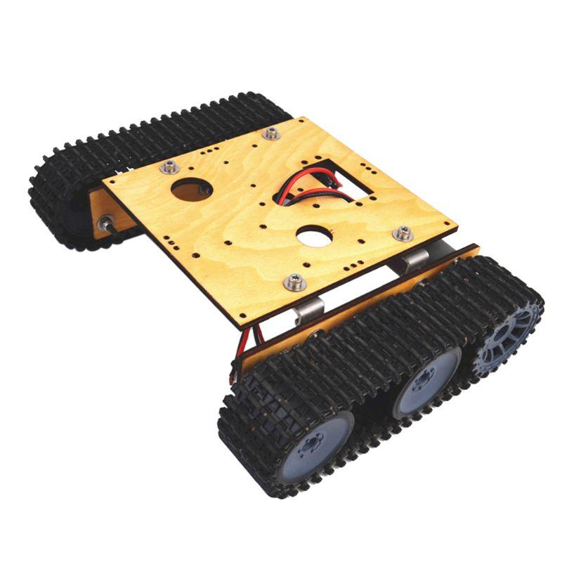 Wood Tank Robot Chassis DC 9-12v Crawler DIY Assembly Kit