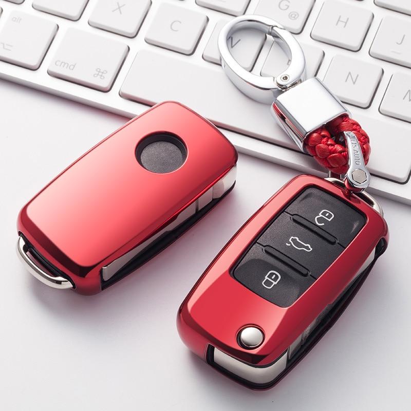 Funda para llave de coche TPU suave resistente al desgaste para Volkswagen para VW Passat Golf Jetta Bora Polo Sagitar Tiguan nueva cubierta para llave sin llave