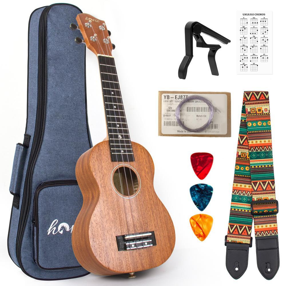 قيثارة سوبرانو الماهوجني مقاس 21 بوصة للمبتدئين ، قيثارة مع حقيبة هدايا ، موالف حزام ، اختيارات كابو