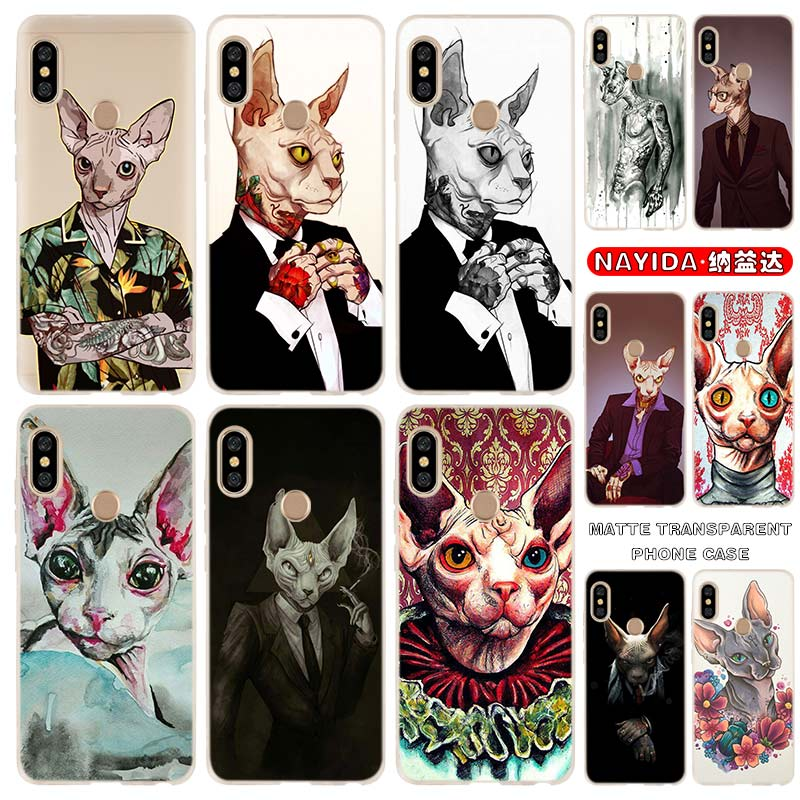 De silicona suave funda de teléfono para Xiaomi Redmi Note 9 8 7 6 5 4 K20 Pro 8A 7A 6A S2 5A más 4X tatuaje esfinge gato Fundas
