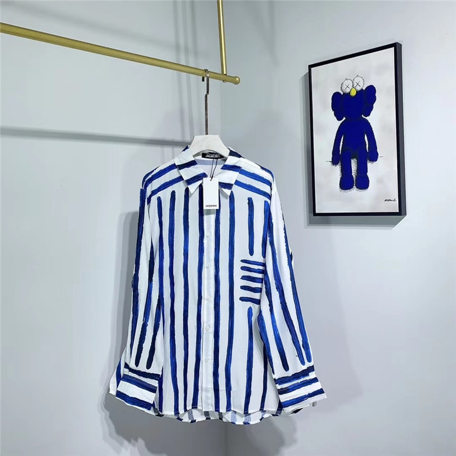 Moda azul rayas jackemus camisas hombres mujeres 11 mejor calidad Loose Beach Style Top Tees jackemus camisas