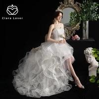 2021 wedding dress new front short back long tailed princess pengpeng skirt miniskirt floor length gowns bride dresses
