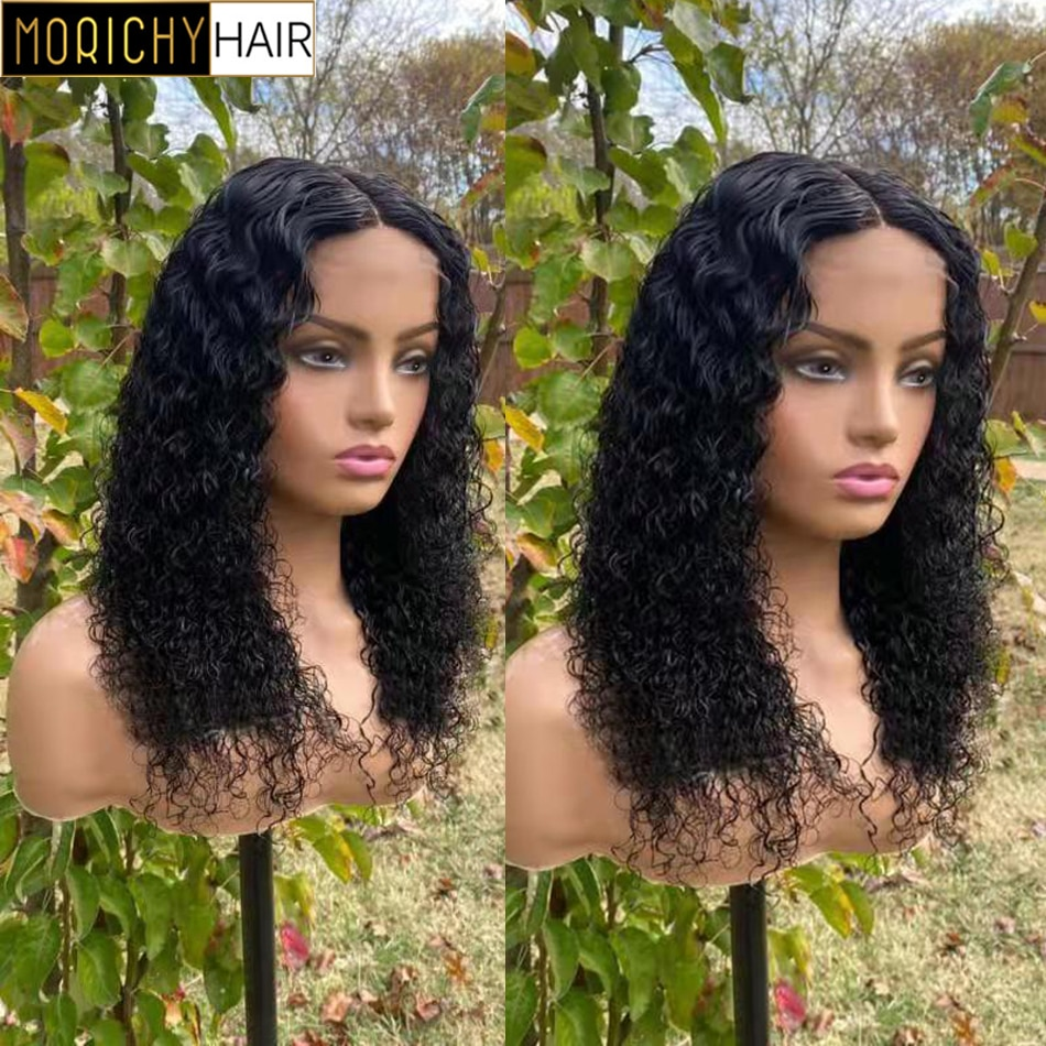 Morichy Curly 13x4 Lace Front Wig Short Bob Frontal Human Hair Wigs Curly Wave Brazilian Pre Plucked 4x4 Lace Closure Wig