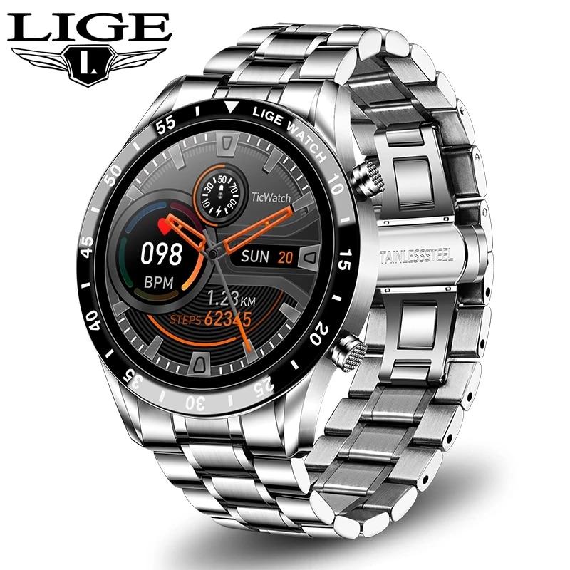 LIGE 2021 موضة جديدة Smartwatch بلوتوث دعوة الرياضة ساعة رجالي رصد معدل ضربات القلب تحكم بالموسيقى مقاوم للماء ساعة ذكية رجل