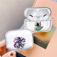 funny astronaut cartoon planet star space transparent airpod case for apple airpods pro cover wireless bluetooth earphone coque