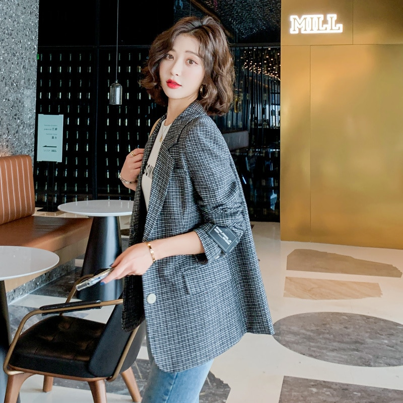 2021 Autumn Suit New Fashion Commuter Elegant Suit Collar Single-Breasted Striped Blazer