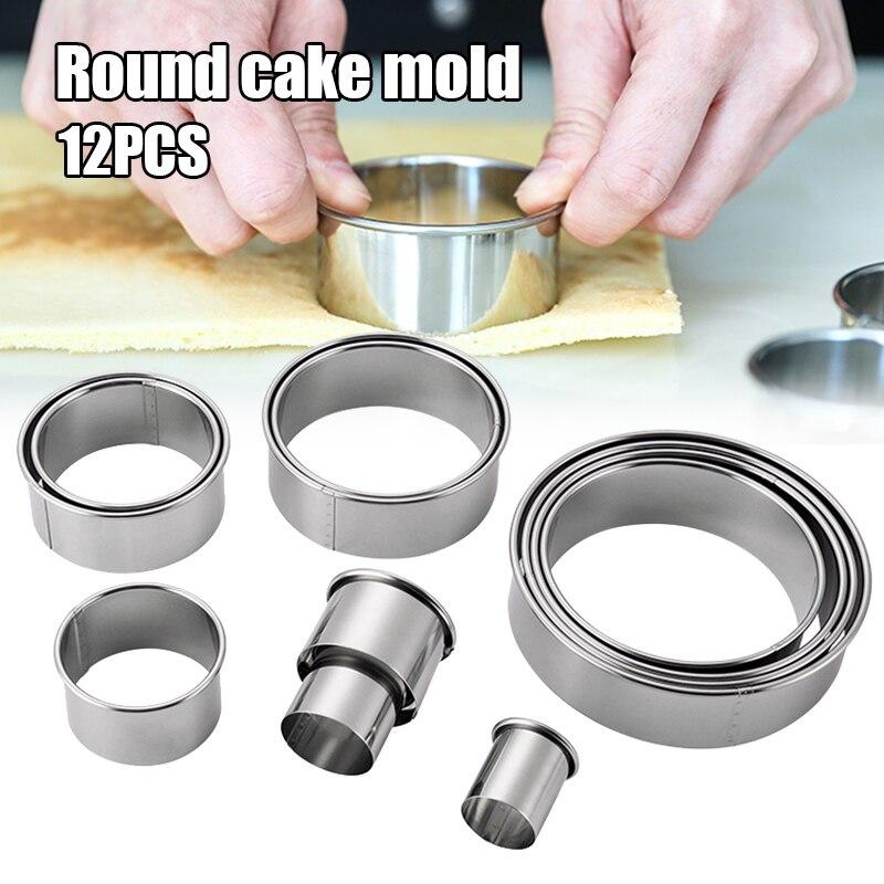 Anillo redondo para pastel 12 unids/set de acero inoxidable Molde de Mousse Donut Fondant molde utensilios para hornear DC112
