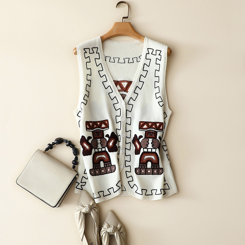 30% Cashmere+70% Wool Women Sweater Vest Embroidery  Geometric  Single Breasted  V-Neck  Sleeveless  Vintage Women Sweaters enlarge