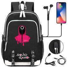 Korean Squid Game Student USB Charging Laptop Backpack Women Men Daily Travel Backpack Kid Teenager