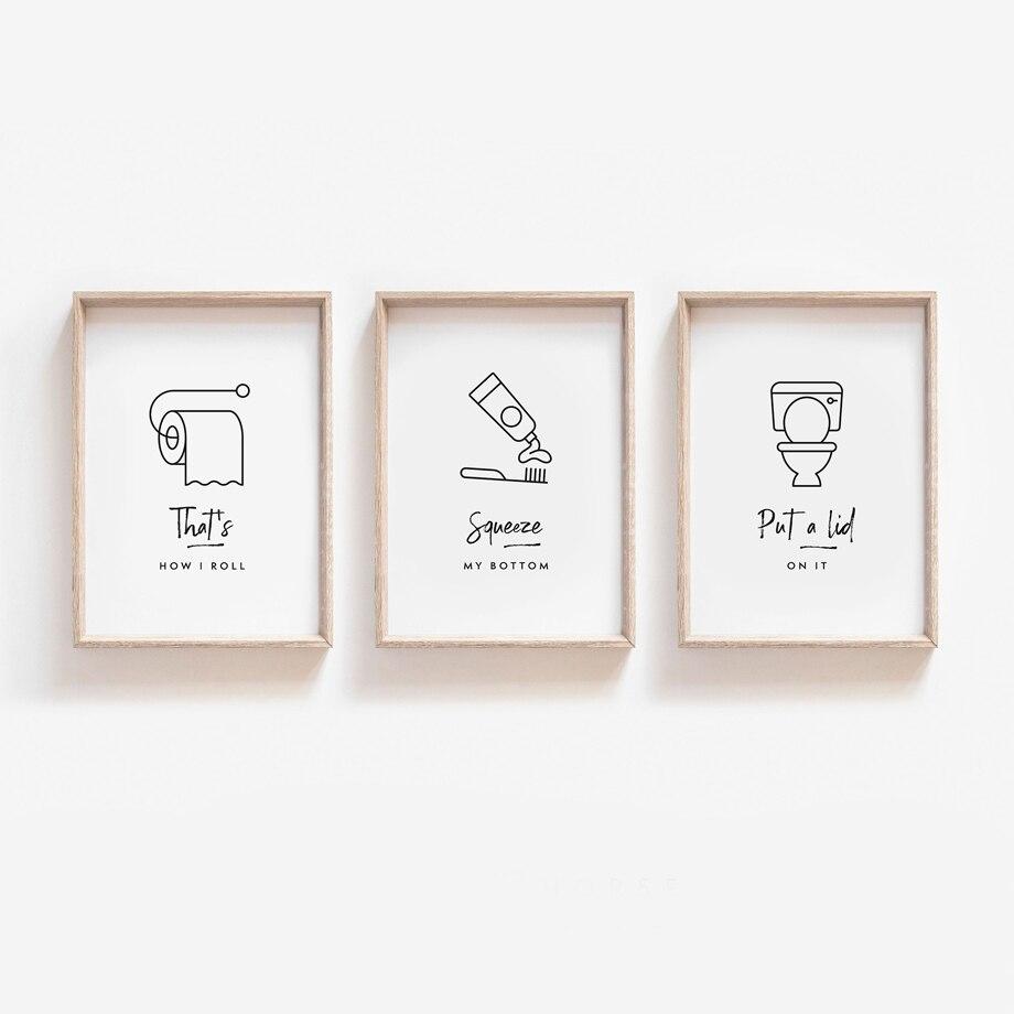 Cuadro sobre lienzo para pared de papel higiénico con cepillo y dientes, póster con impresiones artísticas de estilo nórdico, cuadros para decoración del baño y la sala de estar