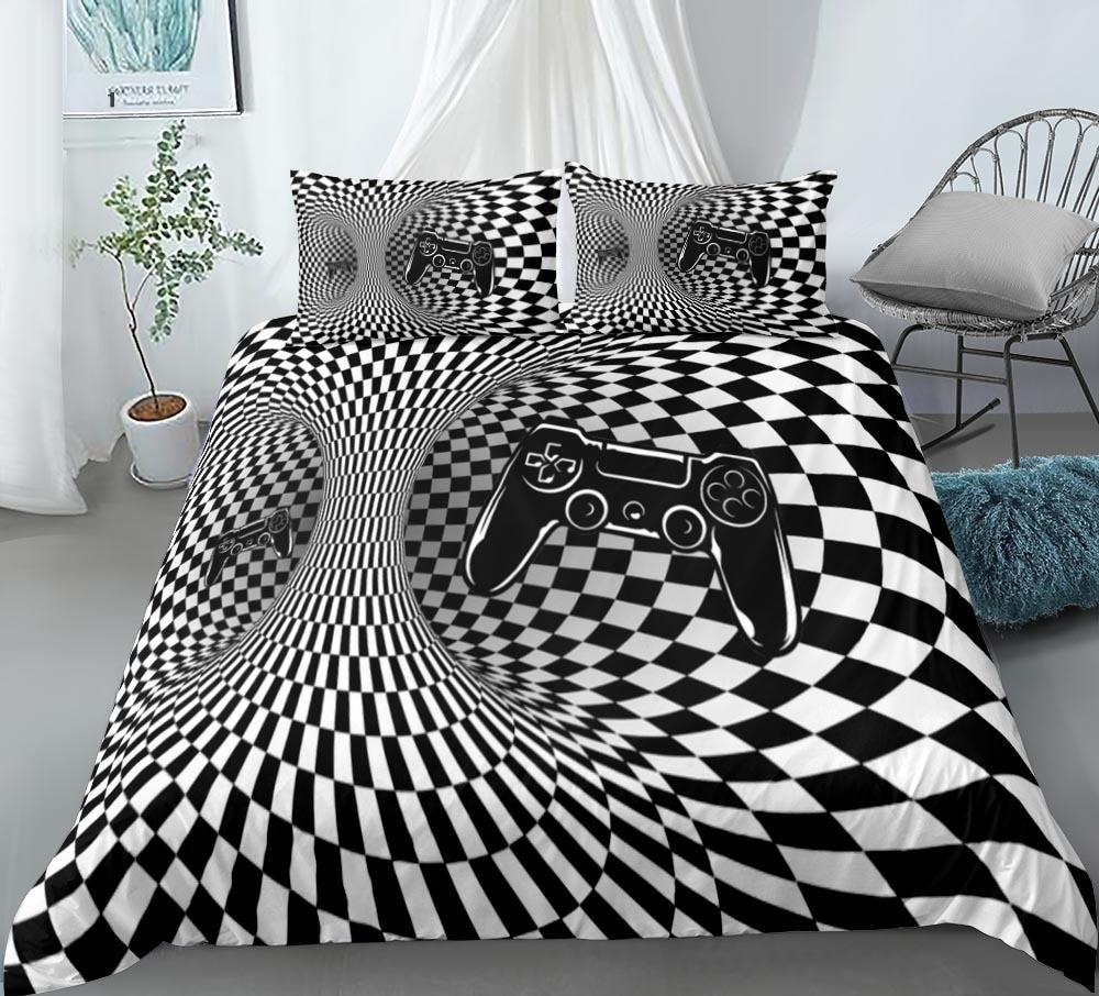 ثلاثية الأبعاد دوامة Gamepads حاف الغطاء الطباعة الرقمية غطاء لحاف طقم سرير حجم الملك المعزي غطاء اللعبة الإبداعية أكثر من المفارش