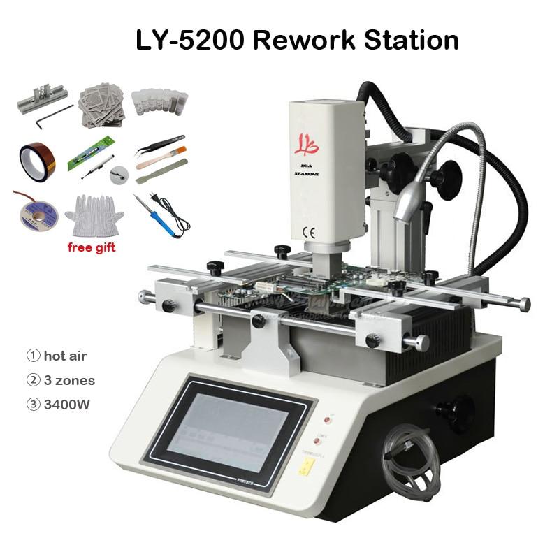 LY-5200 شاشة تعمل باللمس 3 مناطق التدفئة بغا محطة الهواء الساخن محطة إعادة العمل المحمول 3400 واط لإصلاح المحمول منطقة التسخين 240*200 مللي متر