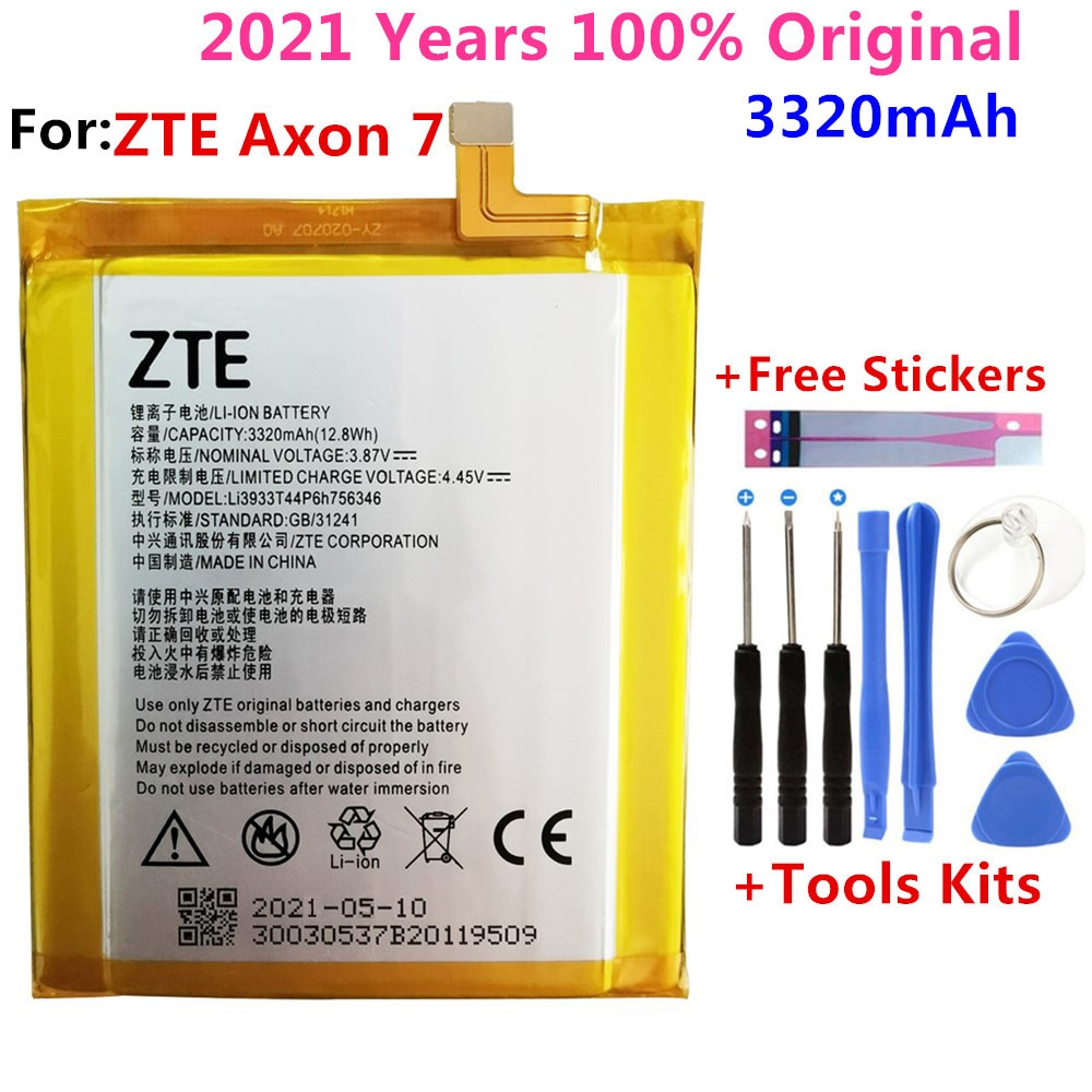 Original New For ZTE Axon 7 5.5inch A2017 LI3931T44P8H756346 battery Rechargeable Li-ion Built-in lithium polymer battery+Tools environmental original mindray li24i002a 5800mah 14 8v rechargeable lithium ion battery