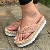 summer slope heel slippers ladies thick bottom temperament fashion rhinestone high heels outdoor beach sandals ladies flip flops