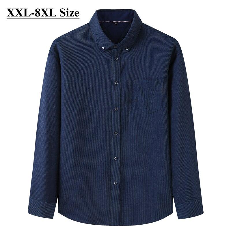 خريف 2021 قميص رجالي فضفاض سروال قصير حجم كبير 6XL 7XL 8XL موضة الأعمال قميص طويل الأكمام جودة العلامة التجارية الملابس